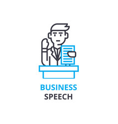 Business speach concept outline icon linear vector