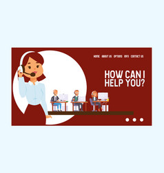 Call center web page people man woman vector