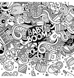 Cartoon doodles baby boom frame vector image