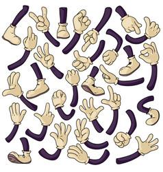 Cartoon hands and legs set vector