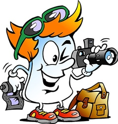 Cartoon of a Happy Editor Paper Photographer vector