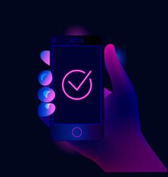 check mark on smartphone screen vector image