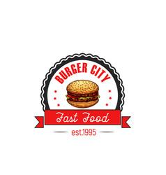 Cheeseburger hamburger fast food cafe icon vector