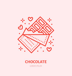 chocolate bar sweets flat line icon vector image
