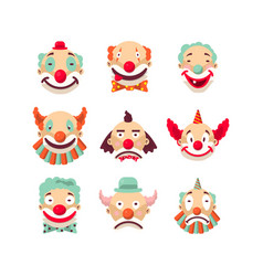 Clown faces isolated icons set vector