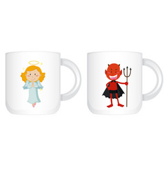 Coffee cup design with devil and angel vector