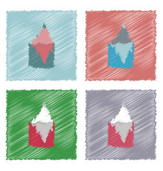 Collection of flat shading style icons iceberg in vector