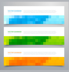 colorful mosaic banners set of three vector image