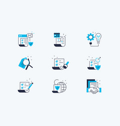 contract line icons set vector image
