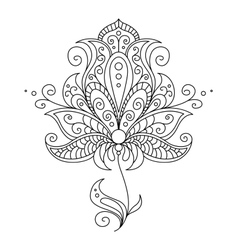 Dainty black and white floral element vector image