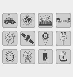 Driverless robotic assistance signs icon set vector