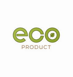 eco product logo on white emblem background vector image