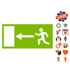 emergency exit icon with lovely bonus vector image