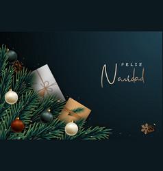 Feliz navidad festive banner merry christmas vector