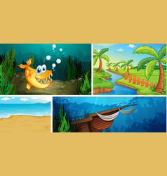 Four different scene tropical beach and vector