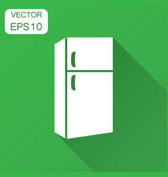 Fridge refrigerator icon in flat style frig vector