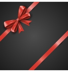 Gift realistic red bow and ribbons tilted on a vector