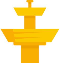 Golden drinking fountain icon flat isolated vector