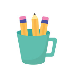 green cup with pencils supplies icon vector image