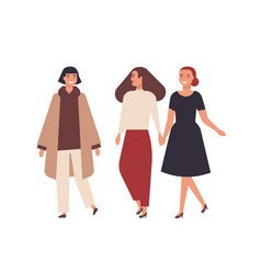 group pretty smiling women dressed in elegant vector image