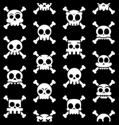 halloween cartoon skull with bones pattern vector image