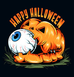 Halloween pumpkin with cute eyeball in its mouth vector
