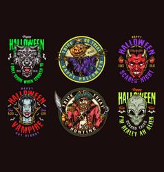 halloween vintage colorful emblems vector image