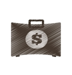 Hand draw suitcase money business element color vector