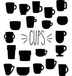 Hand drawn silhouette cups mugs bowls vector