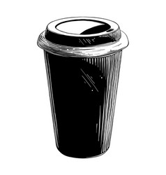 hand drawn sketch of disposable cup in black vector image