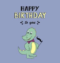 Happy birthday lettering party with baby dino vector