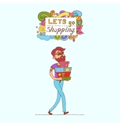 Happy doodle Consumer with a full shopping bags in vector image