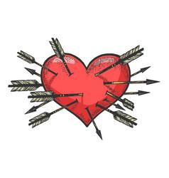 heart symbol pierced with arrows sketch engraving vector image