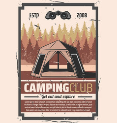 hiking club forest camping travel adventure vector image