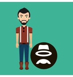 hipster style character hat mustache vintage icon vector image