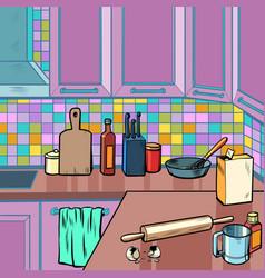 home kitchen room background vector image