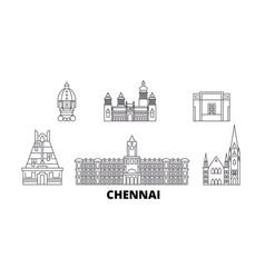India chennai line travel skyline set india vector