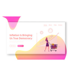 Inflation recession and depreciation landing page vector