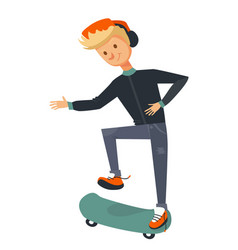 isolated blonde guy skating and trying to flip vector image