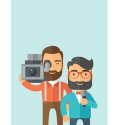 Jourmalist and news reporter vector