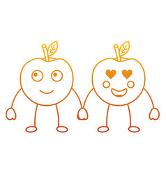 kawaii two cartoon fruit apple holding hands vector image