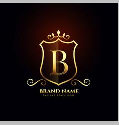 Letter b ornamental golden logo concept design vector