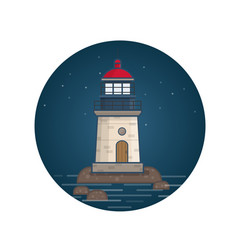 lighthouse in the night sky background vector image