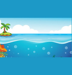 Little island with blank underwater seascape vector