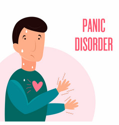 man having panic attack health problem vector image