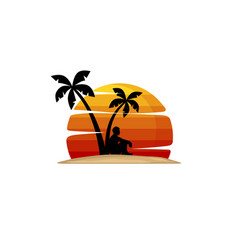 Man sit under palm tree summer holiday beach vector
