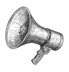 megaphone bullhorn sketch hand drawn vector image