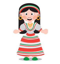 mexican dancer girl cartoon character woman with vector image