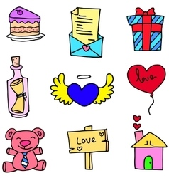 Object romance love of doodles vector
