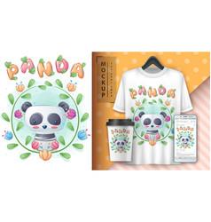 Panda in flower - poster and merchandising vector